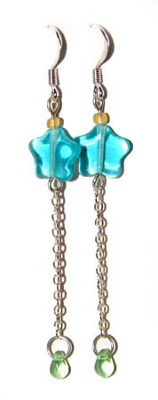Handmade Earrings #6 - Green Aqua Blue Yellow Glass Beads