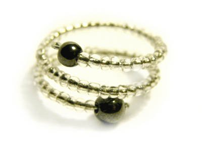 Handmade Ring #3 - Transparent Glass and Hematite Beads