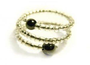 Handmade Ring #3 - Transparent Glass and Hematite Beads