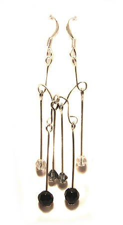 Handmade Earrings #14 - Black Grey Transparent Beads