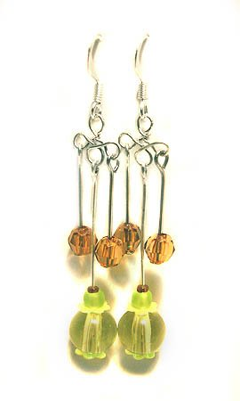 Handmade Earrings #15 - Green Brown Beads