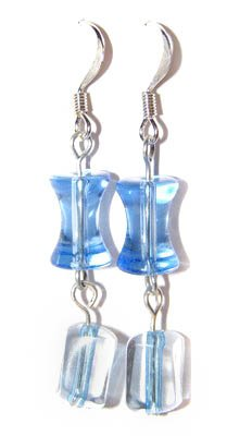 Handmade Earrings #8 - Blue Transparent Beads
