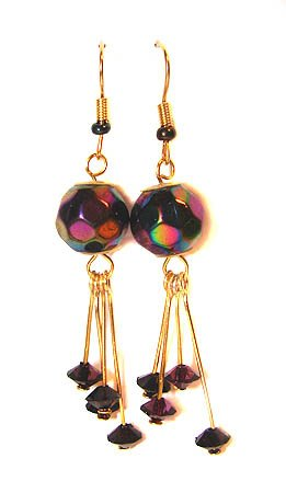 Handmade Earrings #21 - Violet and Rainbow Beads