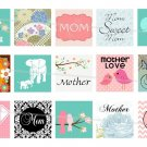 Mother&#39;s Day and Mother theme 1 inch squares 4x6 digital collage sheet