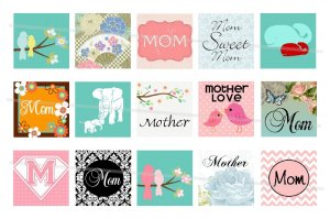 Mother's Day and Mother theme 1 inch squares 4x6 digital collage sheet
