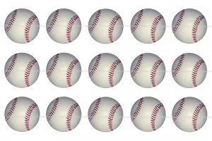 Baseball and Softball 4 x 6 digital collage sheet of 1 inch circles