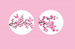 Cherry Blossom Cupcake toppers 2 inch circles digital collage sheet