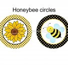 Honey Bee Cupcake toppers 2 inch circles digital collage sheet