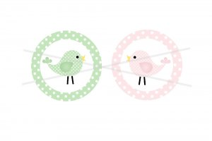 Pastel Pink and Green Birds Cupcake toppers 2 inch circles digital collage sheet