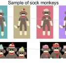 Sock monkeys theme domino size rectangles digital collage sheet
