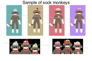 Sock monkeys theme domino size rectangles digital collage sheet