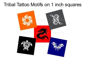 Tattoo theme 1 inch squares digital collage sheet