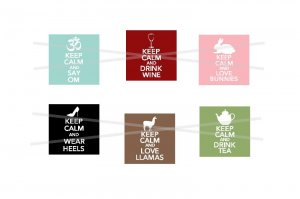 Keep Calm and Carry On theme 1 inch squares digital collage sheet