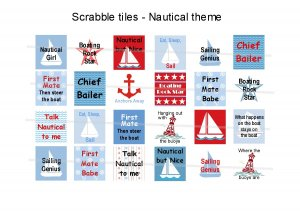Fun Nautical theme scrabble tile size 4x6 digital collage sheet