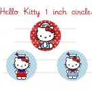 Hello Kitty sailor theme 4 x 6 digital collage sheet of 1 inch circles