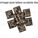 Vintage look letters scrabble tile size 4x6 digital collage sheets