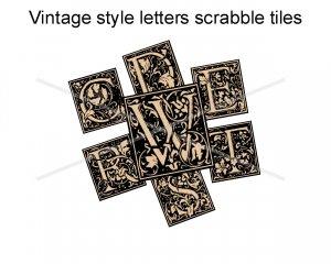 Vintage look letters scrabble tile size 4x6 digital collage sheets