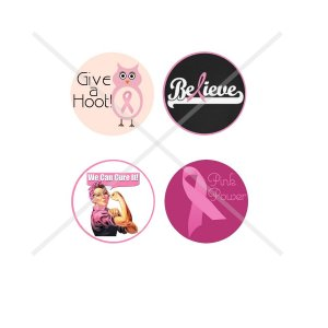 Breast Cancer symbols 4 x 6 digital collage sheet of 1 inch circles