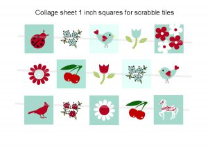 Cute Red, White and Blue theme scrabble tile size 4x6 digital collage sheet