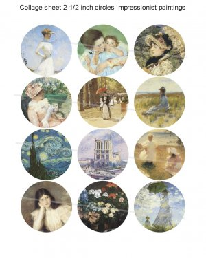 Impressionist paintings 2 and half inch circles digital collage sheet