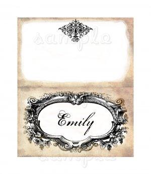 Vintage look printable place cards for weddings and parties digital file diy
