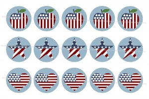 Stars and Stripes theme 4 x 6 digital collage sheet of 1 inch circles for Bottle Caps