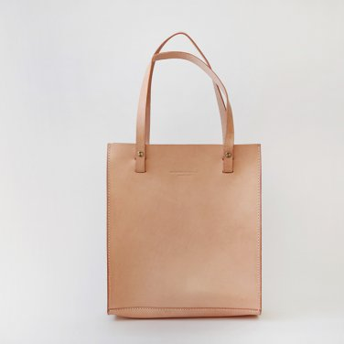 Handmade Double Handles Leather Tote Handbag Nude