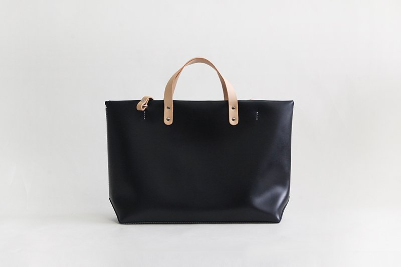 Handmade Sofo Crossbody Leather Tote Handbag L Black