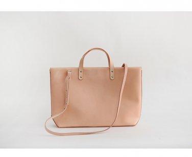 Handmade Sofo Crossbody Leather Tote Handbag L Nude