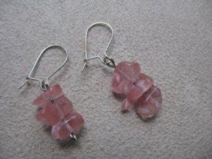 Short Pink Chip Dangle Earrings