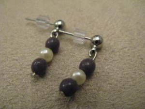 Deep Purple & Pearl Colored Post Earrings