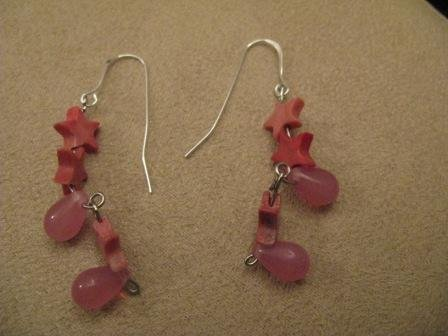 Pink Star & Teardrop Earrings