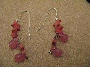 Pink Star & Teardrop Earrings