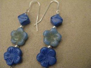 Bright Blue Flower Earrings