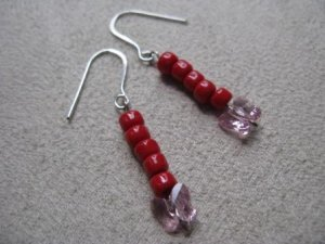 Red and Pink Butterfly Bead Earrings