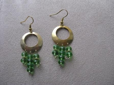 Gold & Green Funky Chandelier Earrings