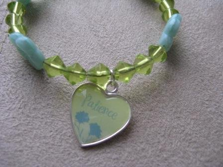 Lime Green & Blue PATIENCE Recovery Bracelet.