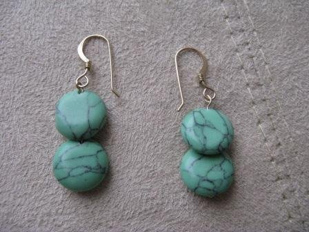 Gold Turquoise Flat Bead Earrings