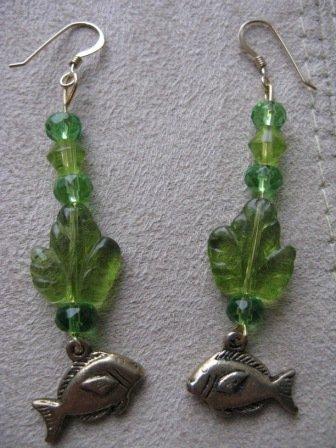 Long Green Dangle Fish Earrings