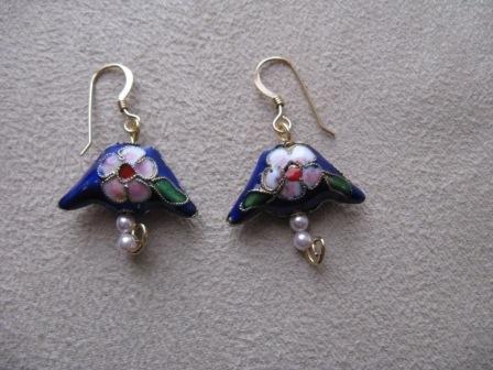 Blue Oriental Style Bead Earrings