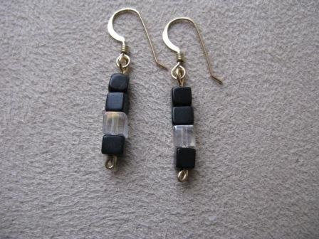 Black & Crystal Gold Earrings
