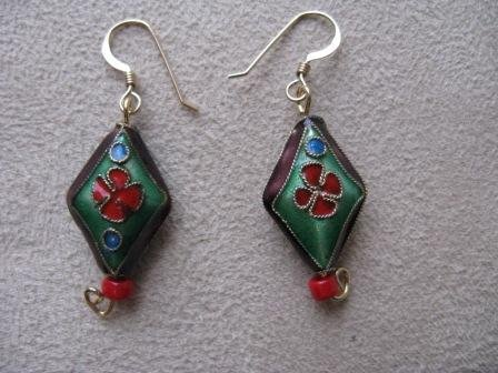 Purple & Red Oriental Style Earrings