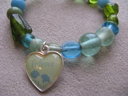 Green & Blue Glass Bead PATIENCE Recovery Bracelet