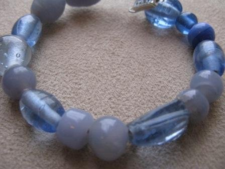 Grey Blue Glass Bead Bracelet