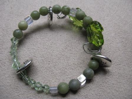 BE HERE NOW Real Jade & Green Bead Bracelet
