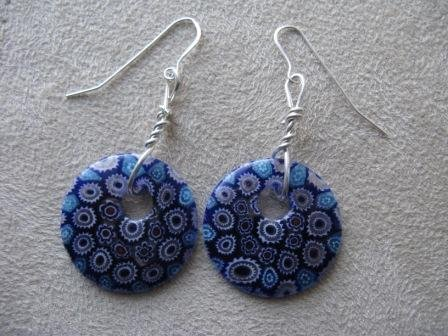 Flat Round Blue Bead Silver Earrings