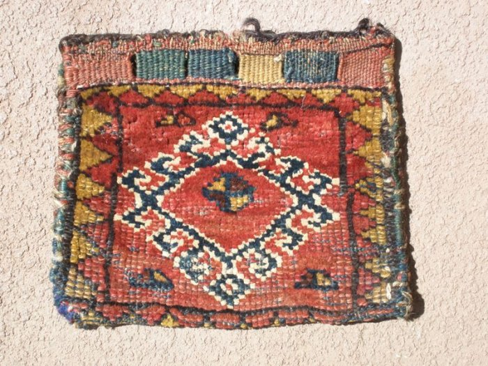 antique small pile weave bag with cute colours