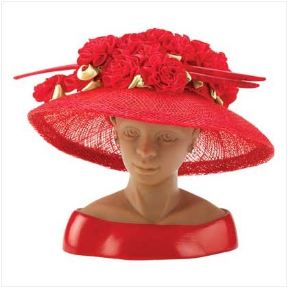 #13134 Red Sinamay Rosebud Hat