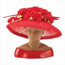 #13134 Red Sinamay Rosebud Hat