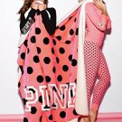 "Victoria's Secret PINK Soft Sherpa Blanket Pink Polka Dot 60"""" x 72"""" BONUS VS DEC"
